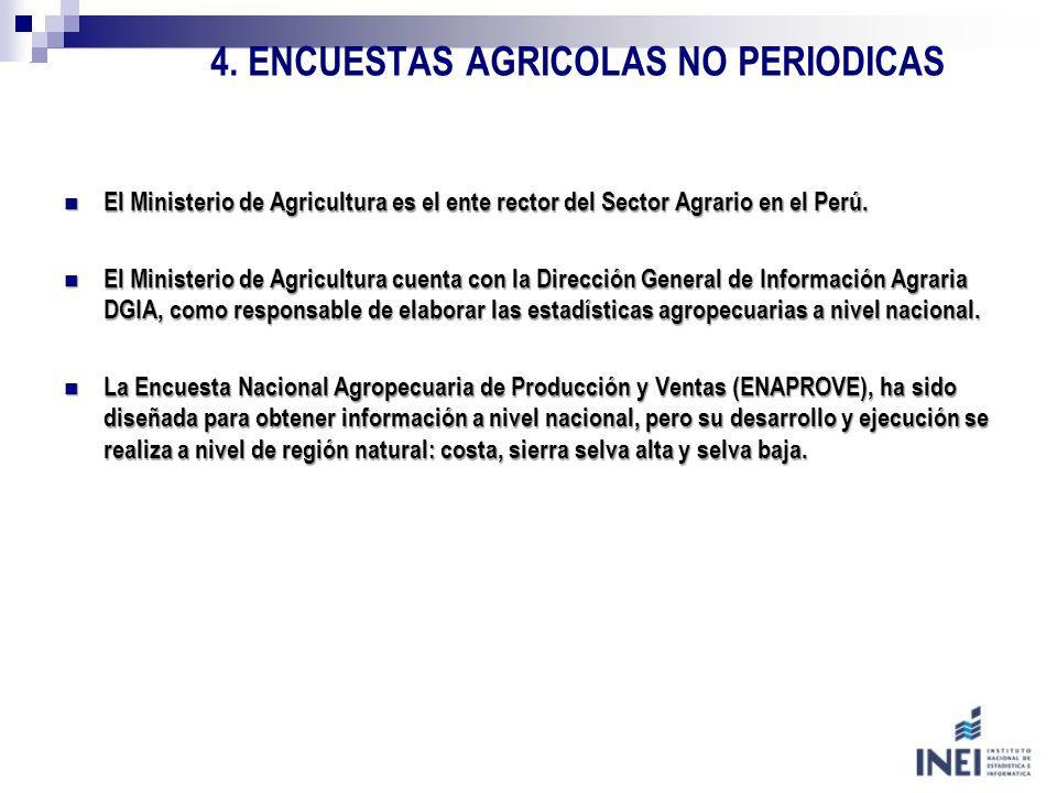 4. ENCUESTAS AGRICOLAS NO PERIODICAS El Ministerio de Agricultura es el ente rector del Sector Agrario en el Perú. El Ministerio de Agricultura es el