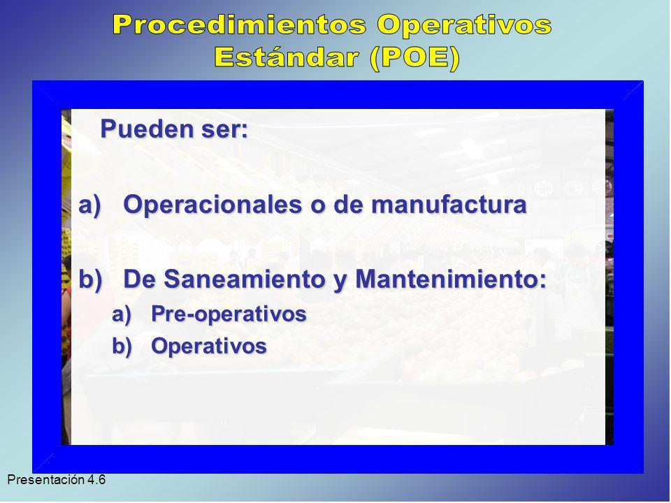 Presentación 4.6 Su utilidad: 1)Para dar continuidad a la operación y evitar errores.