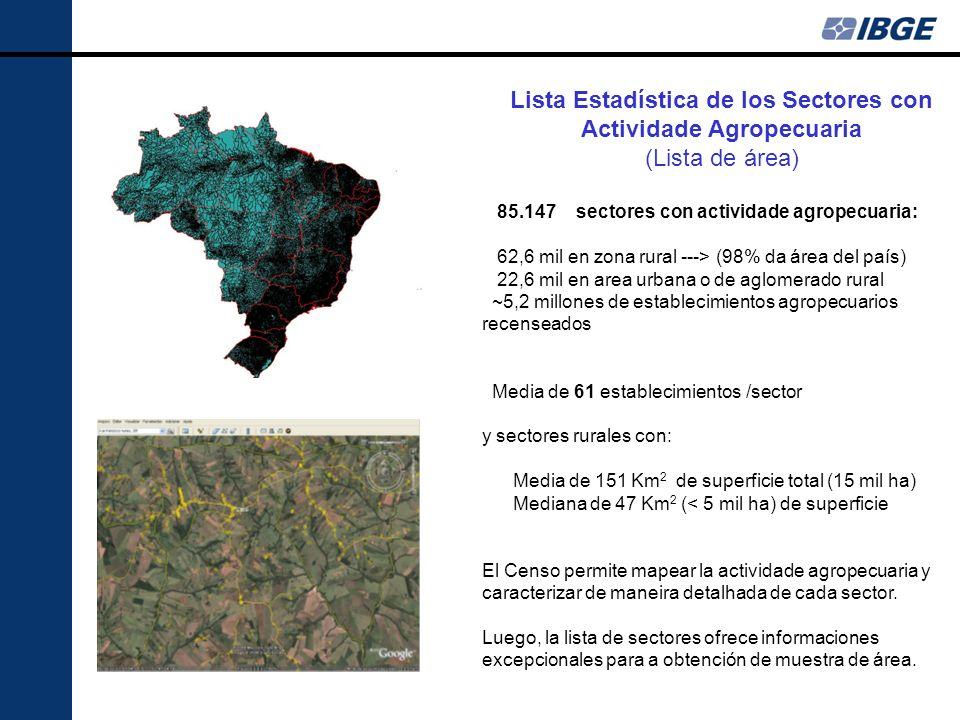 Lista Estadística de los Sectores con Actividade Agropecuaria (Lista de área) 85.147 sectores con actividade agropecuaria: 62,6 mil en zona rural ---> (98% da área del país) 22,6 mil en area urbana o de aglomerado rural ~5,2 millones de establecimientos agropecuarios recenseados Media de 61 establecimientos /sector y sectores rurales con: Media de 151 Km 2 de superficie total (15 mil ha) Mediana de 47 Km 2 (< 5 mil ha) de superficie El Censo permite mapear la actividade agropecuaria y caracterizar de maneira detalhada de cada sector.