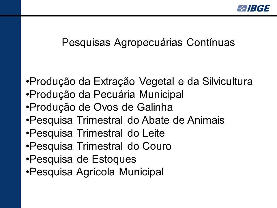 Pesquisas Agropecuárias Contínuas Produção da Extração Vegetal e da Silvicultura Produção da Pecuária Municipal Produção de Ovos de Galinha Pesquisa Trimestral do Abate de Animais Pesquisa Trimestral do Leite Pesquisa Trimestral do Couro Pesquisa de Estoques Pesquisa Agrícola Municipal