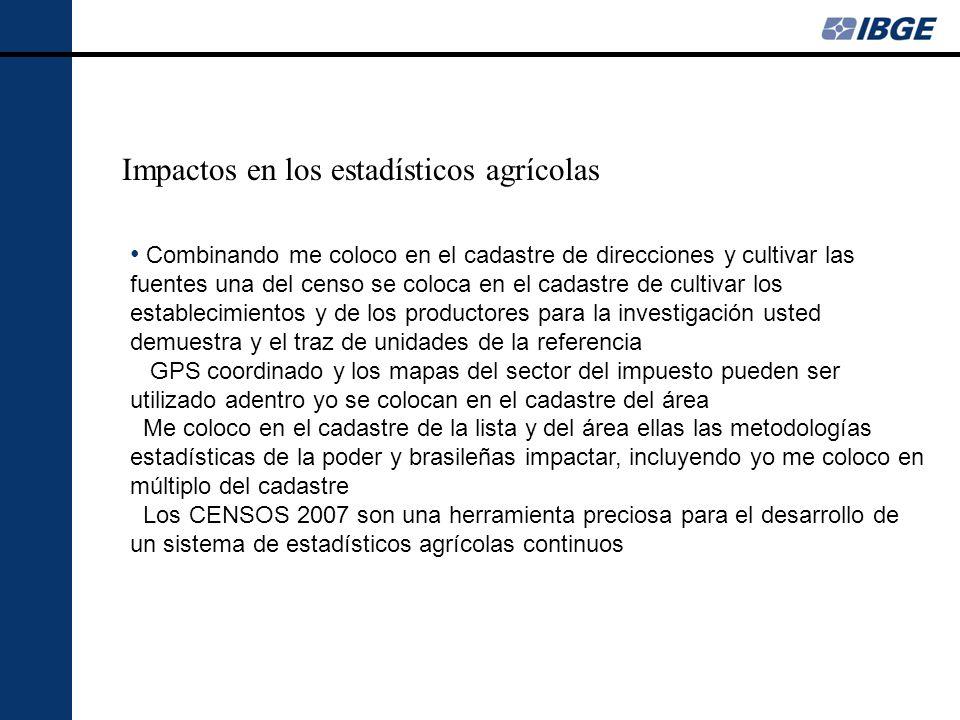 Impactos en los estadísticos agrícolas Combinando me coloco en el cadastre de direcciones y cultivar las fuentes una del censo se coloca en el cadastr