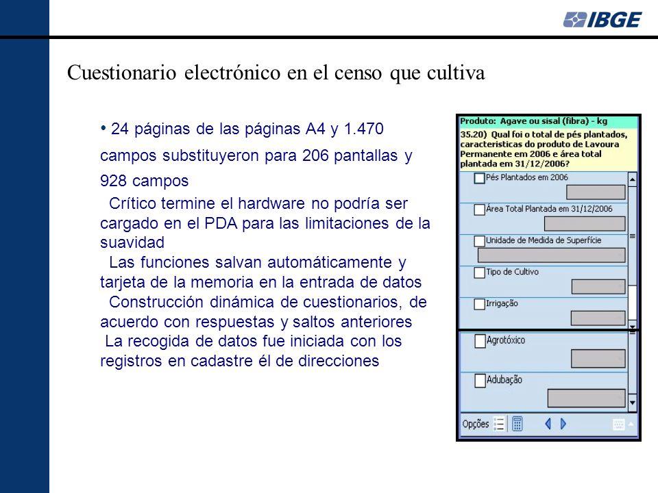 Cuestionario electrónico en el censo que cultiva 24 páginas de las páginas A4 y 1.470 campos substituyeron para 206 pantallas y 928 campos Crítico termine el hardware no podría ser cargado en el PDA para las limitaciones de la suavidad Las funciones salvan automáticamente y tarjeta de la memoria en la entrada de datos Construcción dinámica de cuestionarios, de acuerdo con respuestas y saltos anteriores La recogida de datos fue iniciada con los registros en cadastre él de direcciones