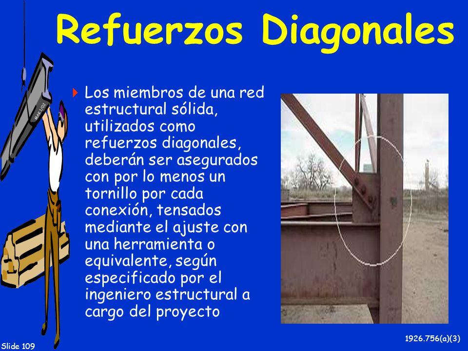 MAK 1/02 Slide 109 Refuerzos Diagonales Los miembros de una red estructural sólida, utilizados como refuerzos diagonales, deberán ser asegurados con p