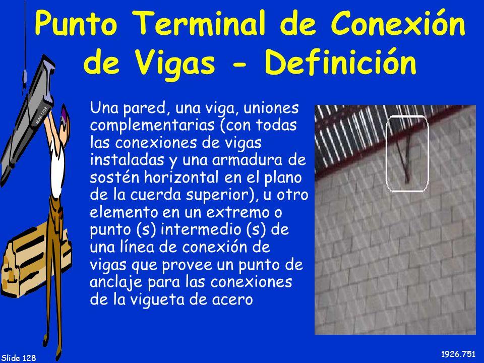 MAK 1/02 Slide 128 Punto Terminal de Conexión de Vigas - Definición Una pared, una viga, uniones complementarias (con todas las conexiones de vigas in