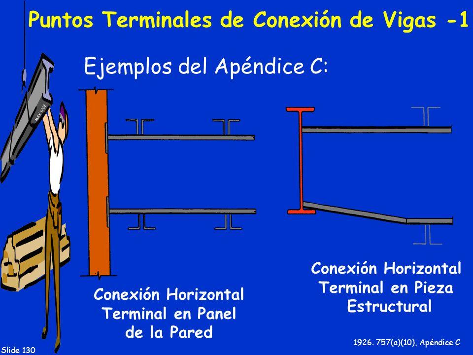 MAK 1/02 Slide 130 Puntos Terminales de Conexión de Vigas -1 Ejemplos del Apéndice C: 1926. 757(a)(10), Apéndice C Conexión Horizontal Terminal en Pan