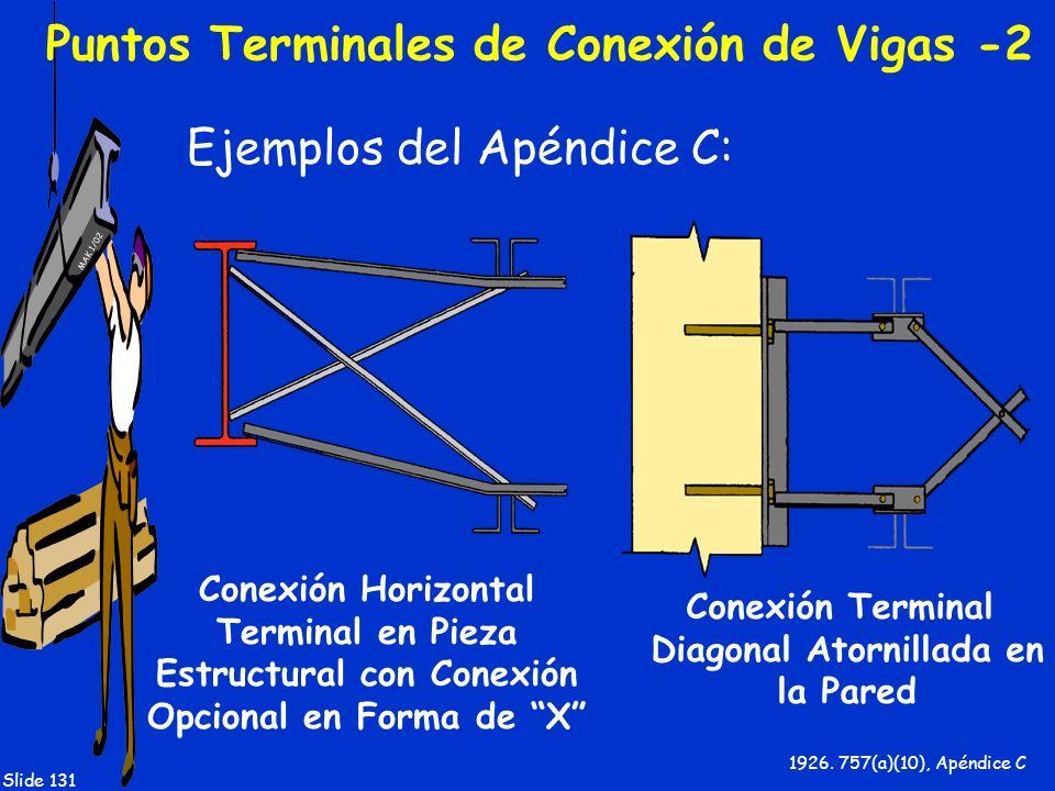 MAK 1/02 Slide 131 Puntos Terminales de Conexión de Vigas -2 Ejemplos del Apéndice C: 1926. 757(a)(10), Apéndice C Conexión Terminal Diagonal Atornill