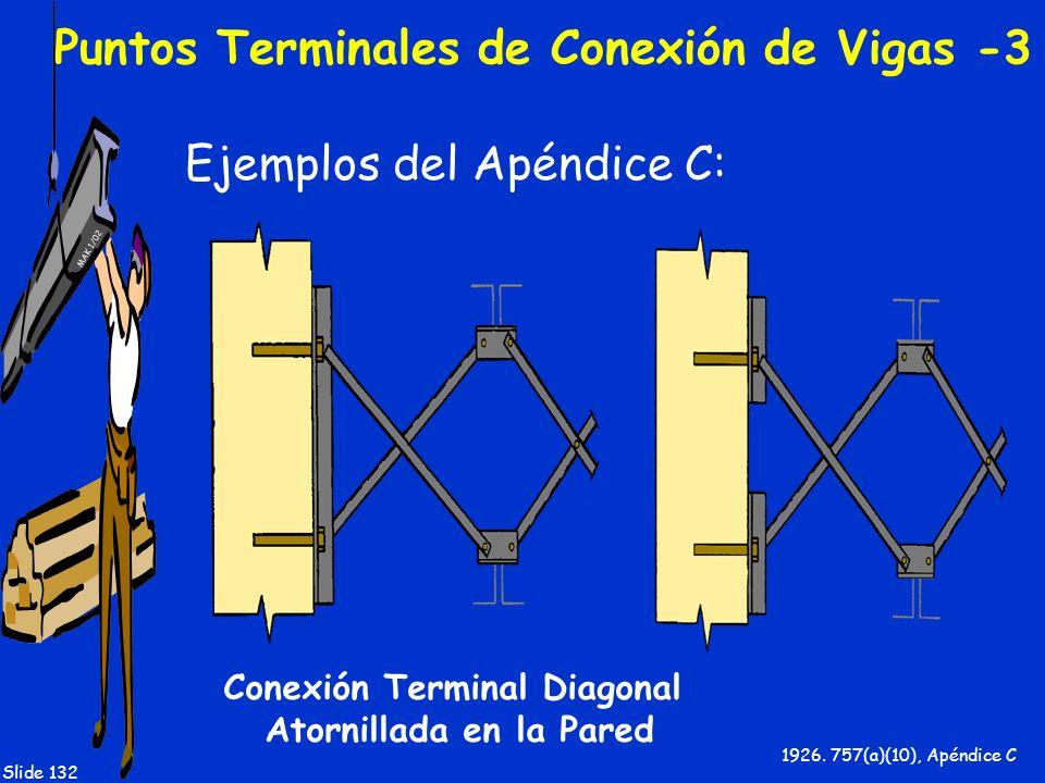 MAK 1/02 Slide 132 Puntos Terminales de Conexión de Vigas -3 Ejemplos del Apéndice C: 1926. 757(a)(10), Apéndice C Conexión Terminal Diagonal Atornill
