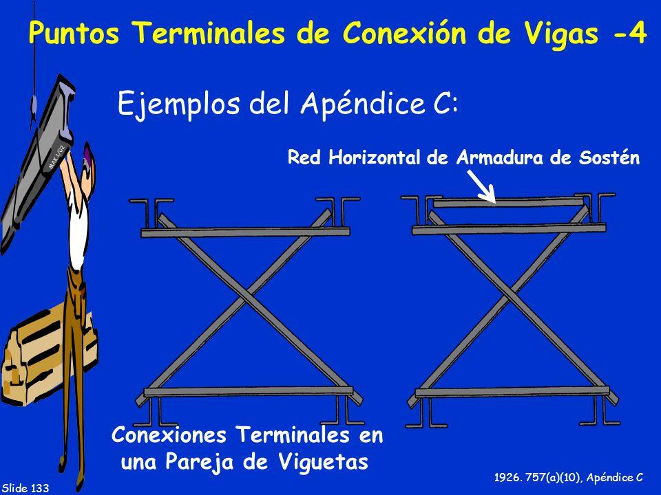 MAK 1/02 Slide 133 Puntos Terminales de Conexión de Vigas -4 Ejemplos del Apéndice C: 1926. 757(a)(10), Apéndice C Red Horizontal de Armadura de Sosté