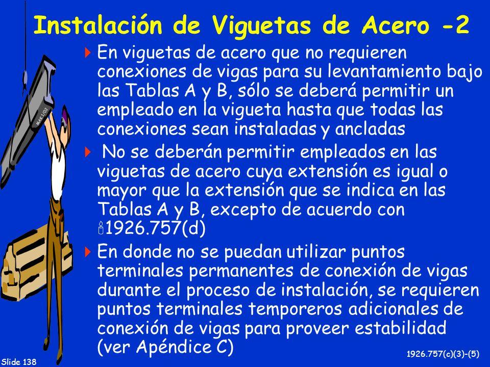 MAK 1/02 Slide 138 Instalación de Viguetas de Acero -2 En viguetas de acero que no requieren conexiones de vigas para su levantamiento bajo las Tablas