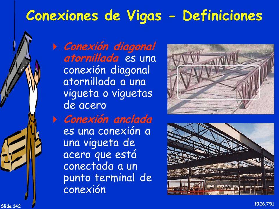 MAK 1/02 Slide 142 Conexiones de Vigas - Definiciones Conexión diagonal atornillada es una conexión diagonal atornillada a una vigueta o viguetas de a