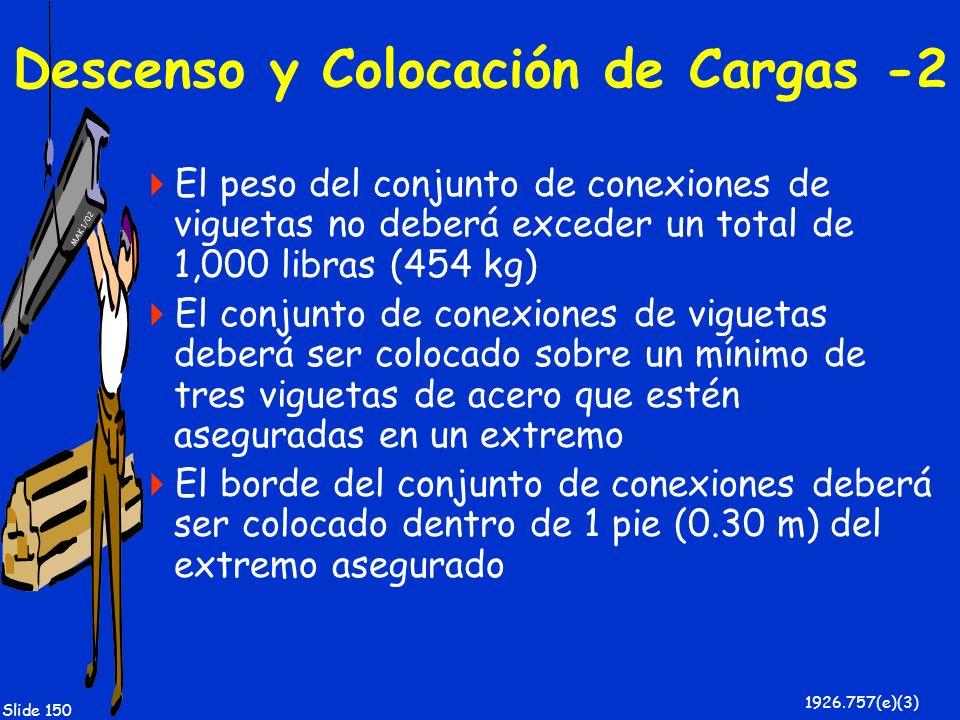 MAK 1/02 Slide 150 Descenso y Colocación de Cargas -2 El peso del conjunto de conexiones de viguetas no deberá exceder un total de 1,000 libras (454 k