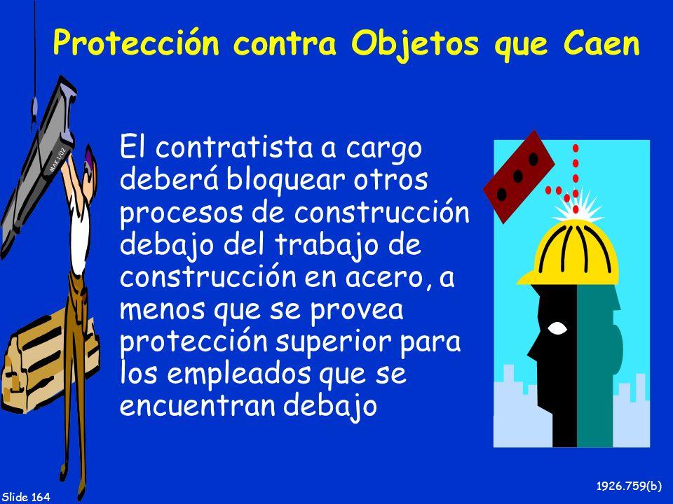 MAK 1/02 Slide 164 Protección contra Objetos que Caen El contratista a cargo deberá bloquear otros procesos de construcción debajo del trabajo de cons