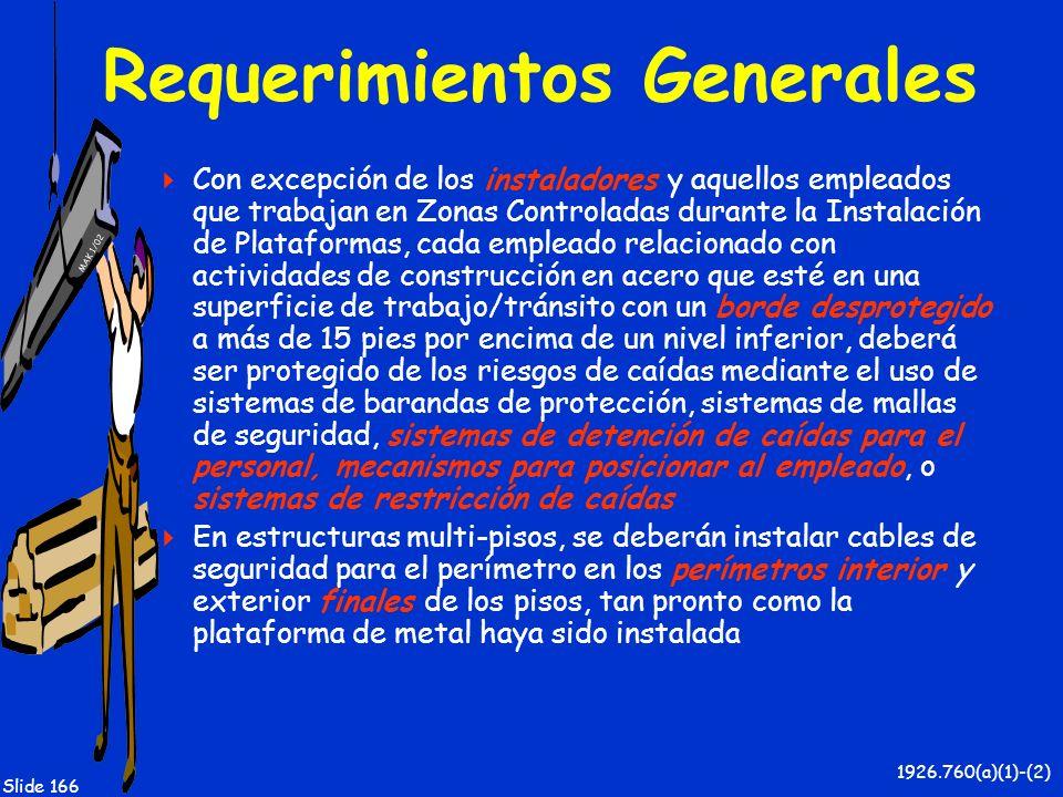 MAK 1/02 Slide 166 Requerimientos Generales Con excepción de los instaladores y aquellos empleados que trabajan en Zonas Controladas durante la Instal