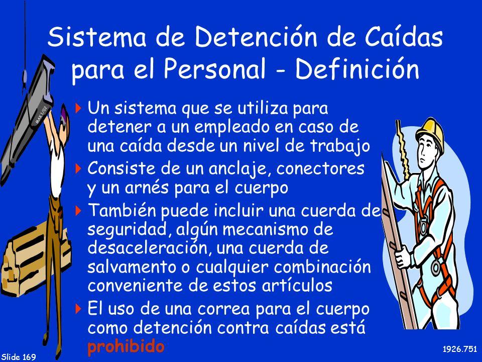 MAK 1/02 Slide 169 Sistema de Detención de Caídas para el Personal - Definición Un sistema que se utiliza para detener a un empleado en caso de una ca