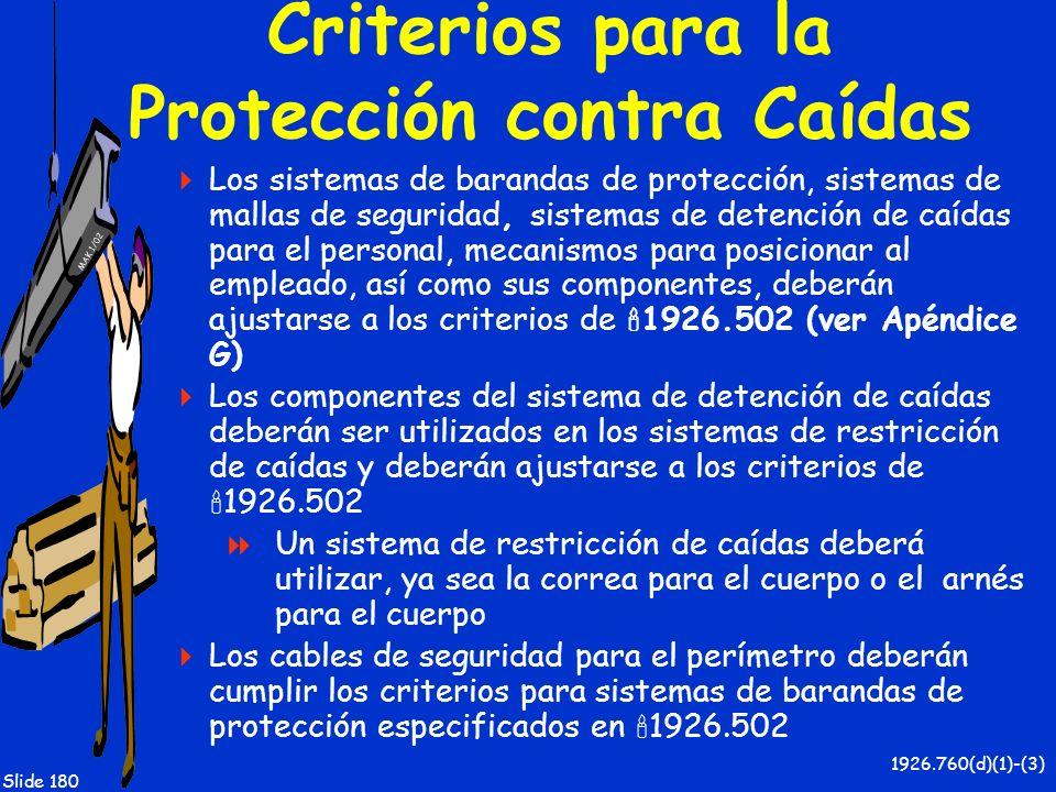 MAK 1/02 Slide 180 Criterios para la Protección contra Caídas Los sistemas de barandas de protección, sistemas de mallas de seguridad, sistemas de det