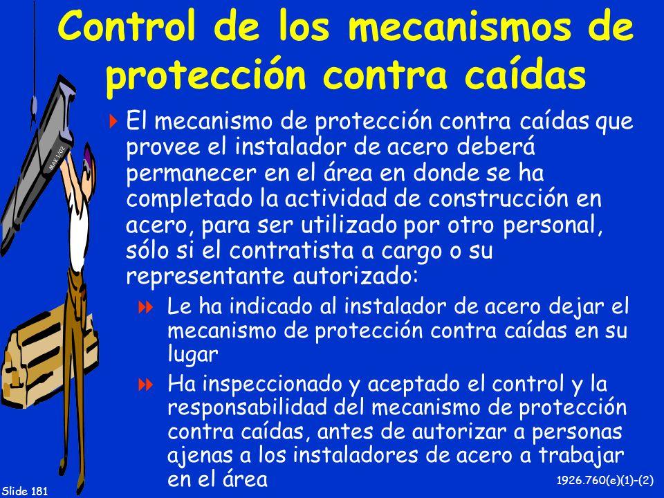 MAK 1/02 Slide 181 Control de los mecanismos de protección contra caídas El mecanismo de protección contra caídas que provee el instalador de acero de