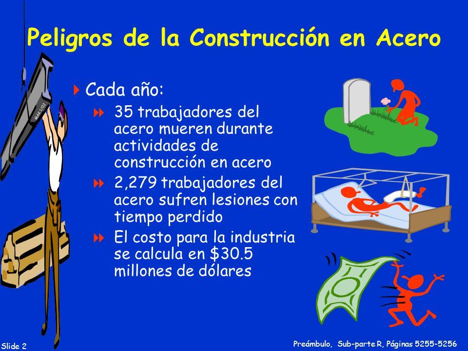 MAK 1/02 Slide 3 Construcción en Acero: Definición La construcción, alteración o reparación de edificios, puentes y otras estructuras en acero, incluyendo la instalación de plataformas de metal y todas las planchas usadas durante el proceso de construcción 1926.751