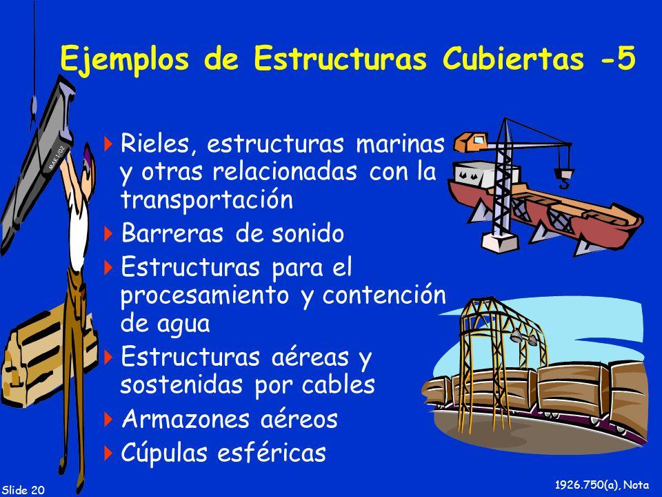 MAK 1/02 Slide 20 Ejemplos de Estructuras Cubiertas -5 Rieles, estructuras marinas y otras relacionadas con la transportación Barreras de sonido Estru