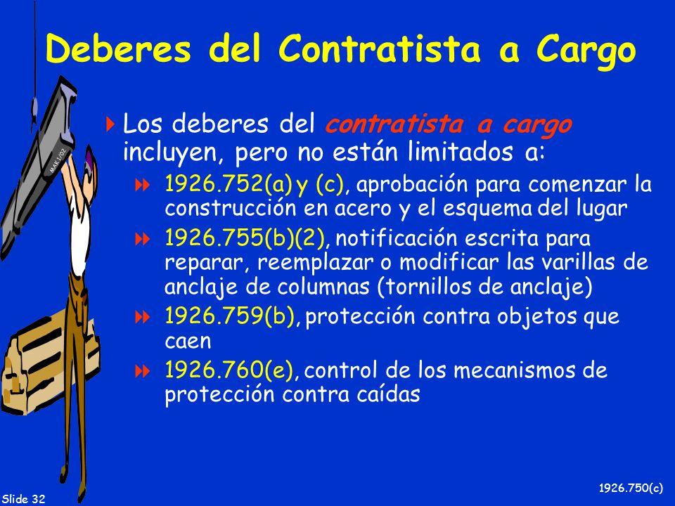 MAK 1/02 Slide 32 Deberes del Contratista a Cargo Los deberes del contratista a cargo incluyen, pero no están limitados a: 1926.752(a) y (c), aprobaci