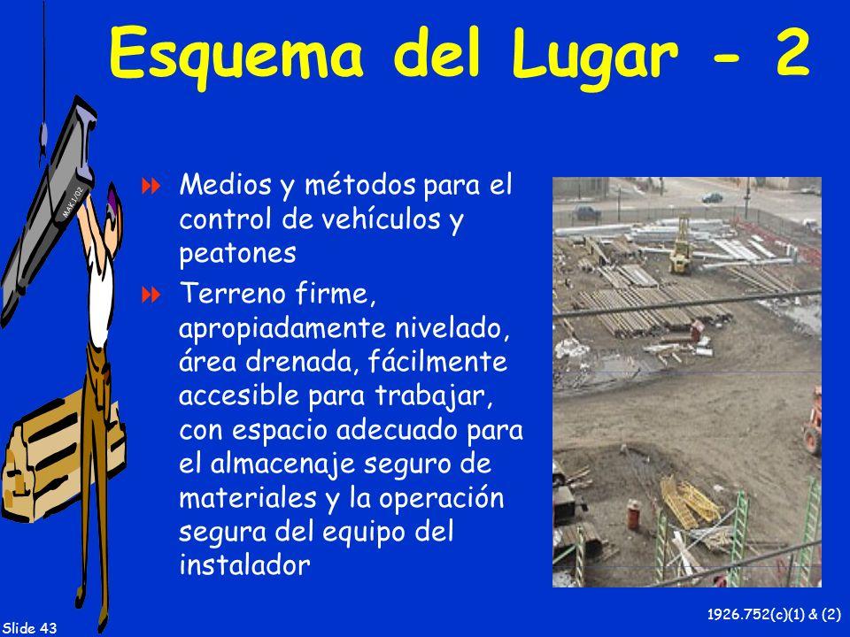 MAK 1/02 Slide 43 Esquema del Lugar - 2 Medios y métodos para el control de vehículos y peatones Terreno firme, apropiadamente nivelado, área drenada,