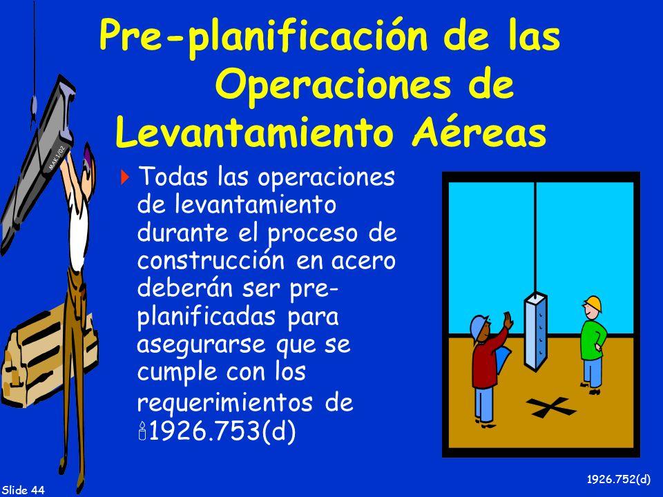 MAK 1/02 Slide 44 Pre-planificación de las Operaciones de Levantamiento Aéreas Todas las operaciones de levantamiento durante el proceso de construcci