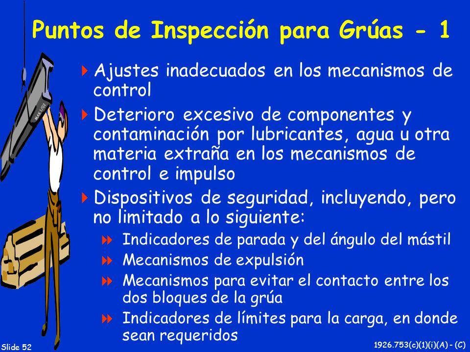 MAK 1/02 Slide 52 Puntos de Inspección para Grúas - 1 Ajustes inadecuados en los mecanismos de control Deterioro excesivo de componentes y contaminaci