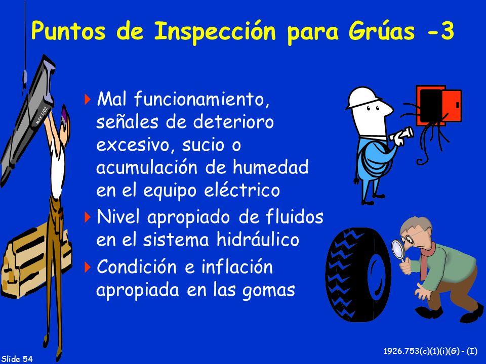 MAK 1/02 Slide 54 Puntos de Inspección para Grúas -3 Mal funcionamiento, señales de deterioro excesivo, sucio o acumulación de humedad en el equipo el