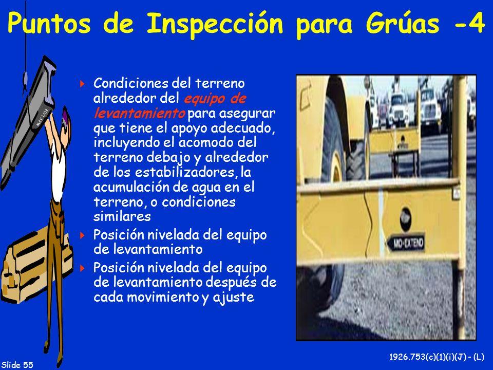 MAK 1/02 Slide 55 Puntos de Inspección para Grúas -4 Condiciones del terreno alrededor del equipo de levantamiento para asegurar que tiene el apoyo ad