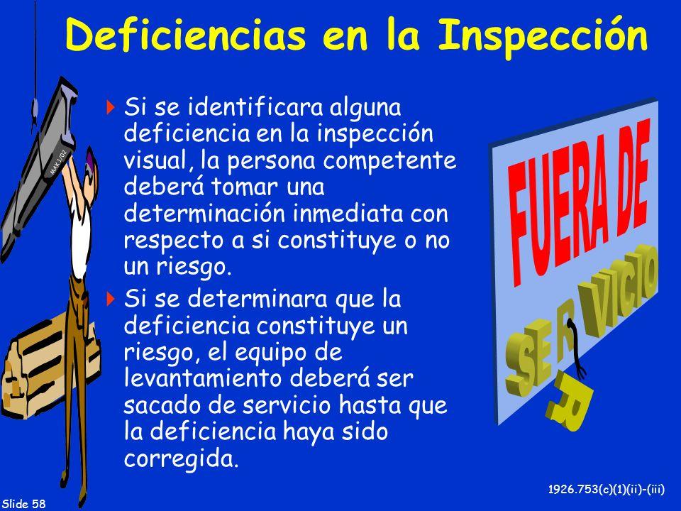 MAK 1/02 Slide 58 Deficiencias en la Inspección Si se identificara alguna deficiencia en la inspección visual, la persona competente deberá tomar una