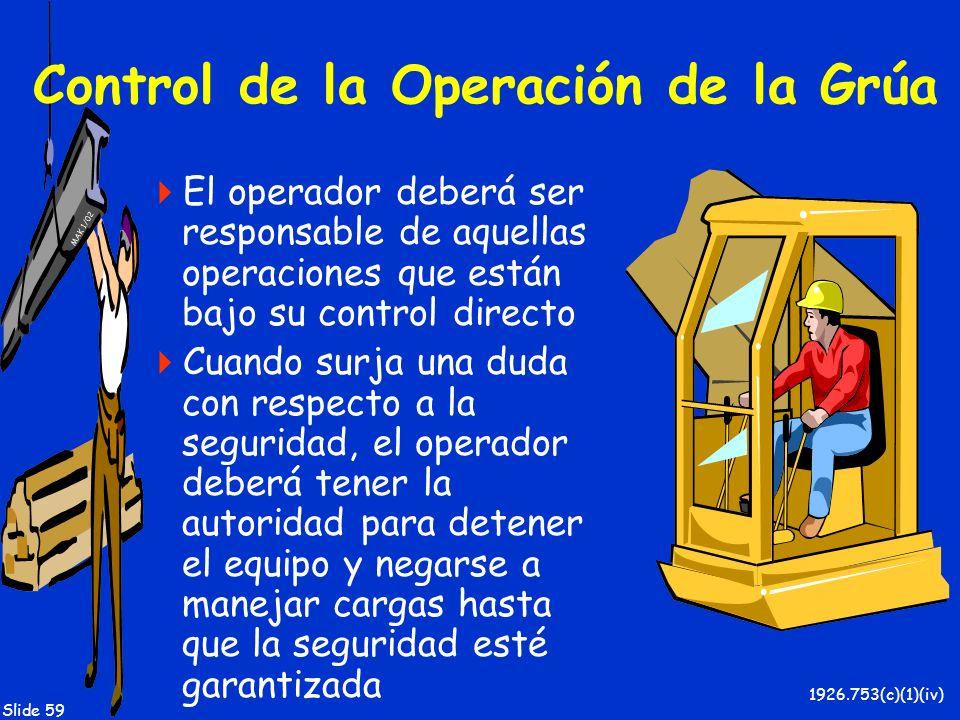 MAK 1/02 Slide 59 Control de la Operación de la Grúa El operador deberá ser responsable de aquellas operaciones que están bajo su control directo Cuan