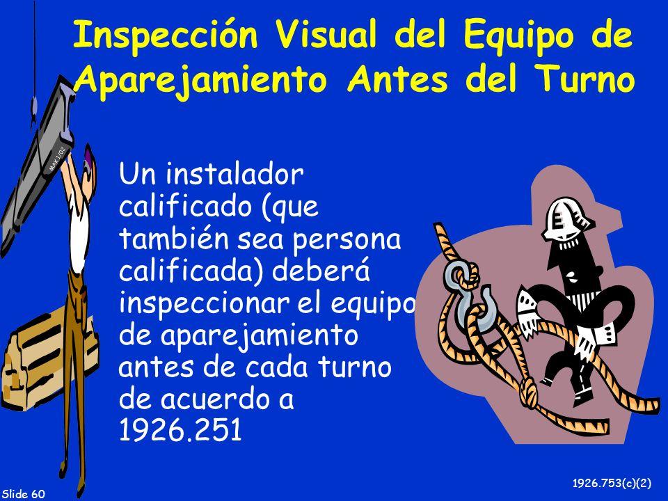 MAK 1/02 Slide 60 Inspección Visual del Equipo de Aparejamiento Antes del Turno Un instalador calificado (que también sea persona calificada) deberá i