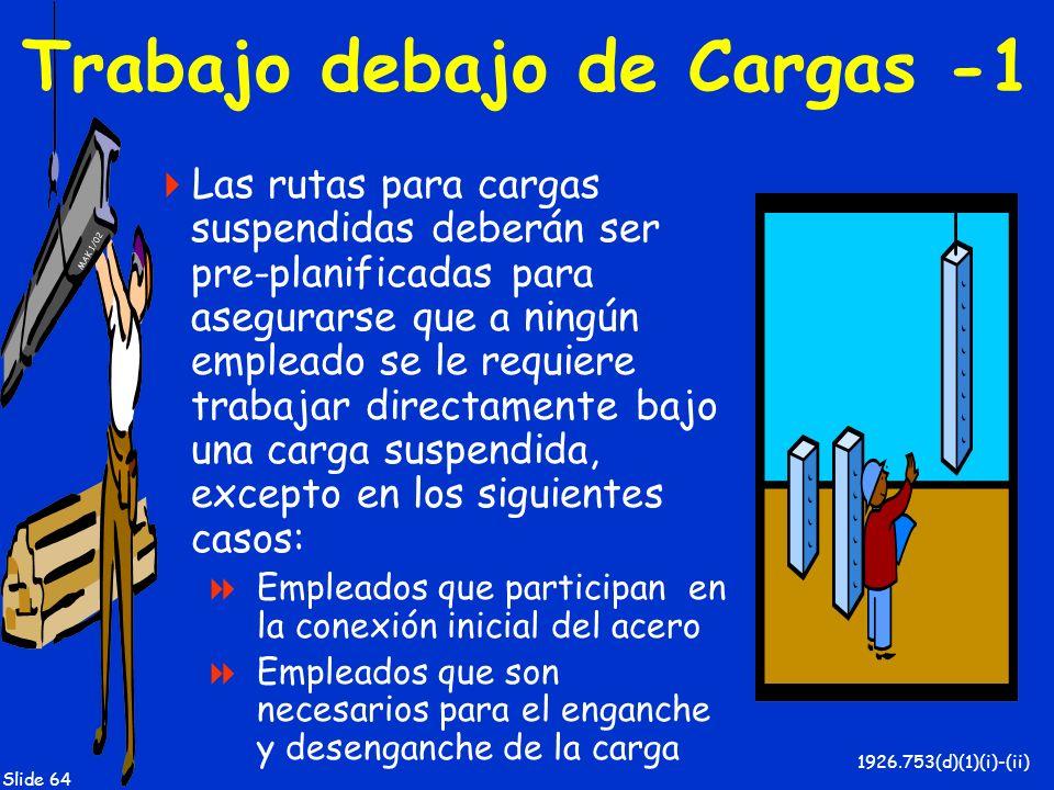 MAK 1/02 Slide 64 Trabajo debajo de Cargas -1 Las rutas para cargas suspendidas deberán ser pre-planificadas para asegurarse que a ningún empleado se