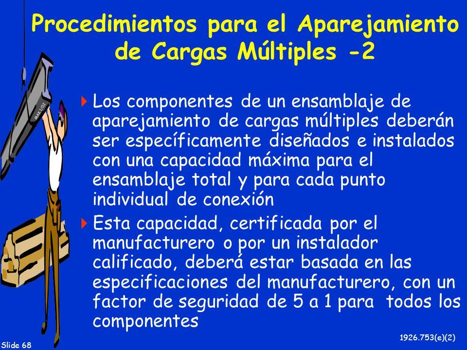 MAK 1/02 Slide 68 Procedimientos para el Aparejamiento de Cargas Múltiples -2 Los componentes de un ensamblaje de aparejamiento de cargas múltiples de