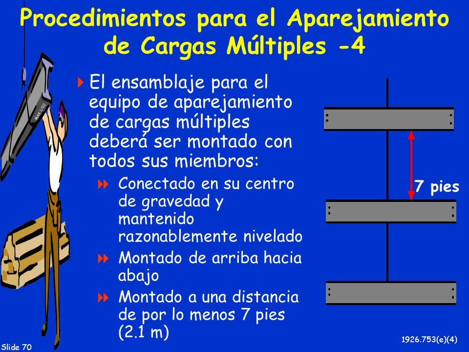 MAK 1/02 Slide 70 Procedimientos para el Aparejamiento de Cargas Múltiples -4 El ensamblaje para el equipo de aparejamiento de cargas múltiples deberá
