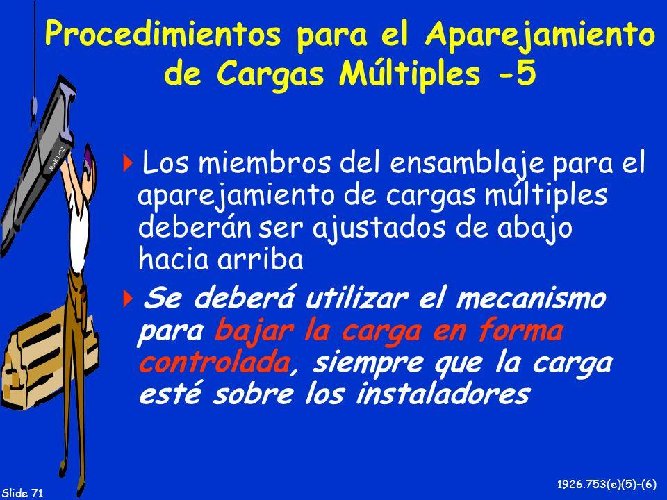 MAK 1/02 Slide 71 Procedimientos para el Aparejamiento de Cargas Múltiples -5 Los miembros del ensamblaje para el aparejamiento de cargas múltiples de
