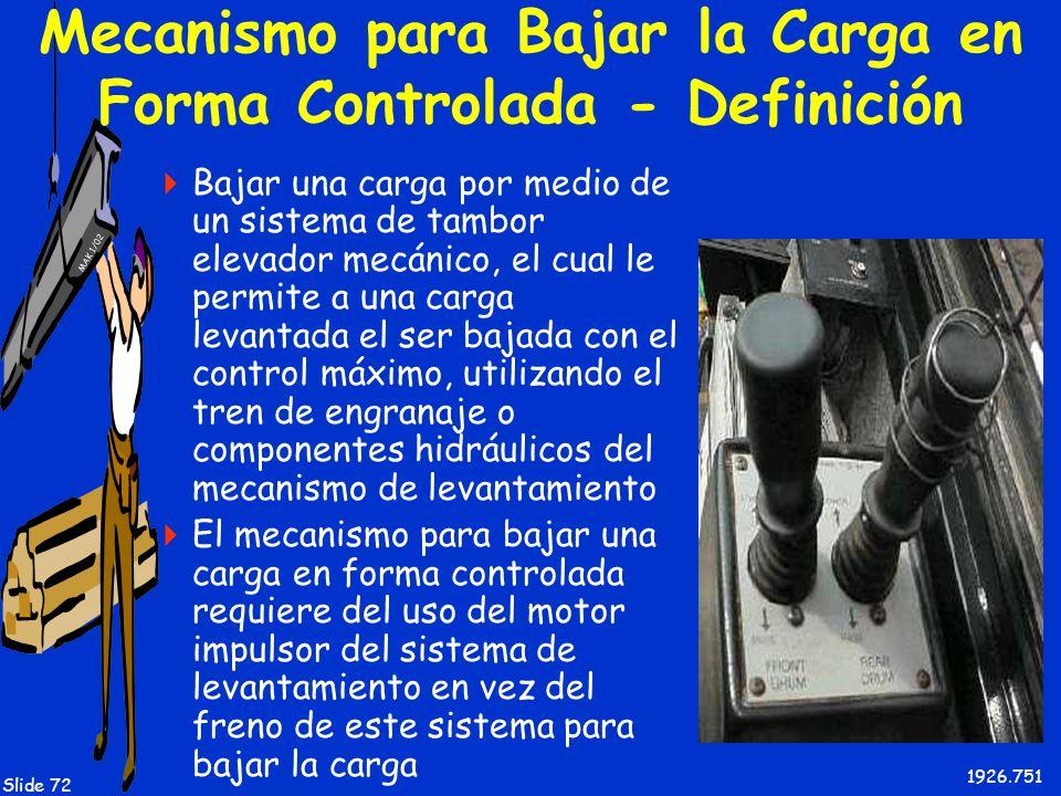 MAK 1/02 Slide 72 Mecanismo para Bajar la Carga en Forma Controlada - Definición Bajar una carga por medio de un sistema de tambor elevador mecánico,