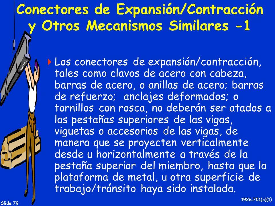 MAK 1/02 Slide 79 Conectores de Expansión/Contracción y Otros Mecanismos Similares -1 Los conectores de expansión/contracción, tales como clavos de ac
