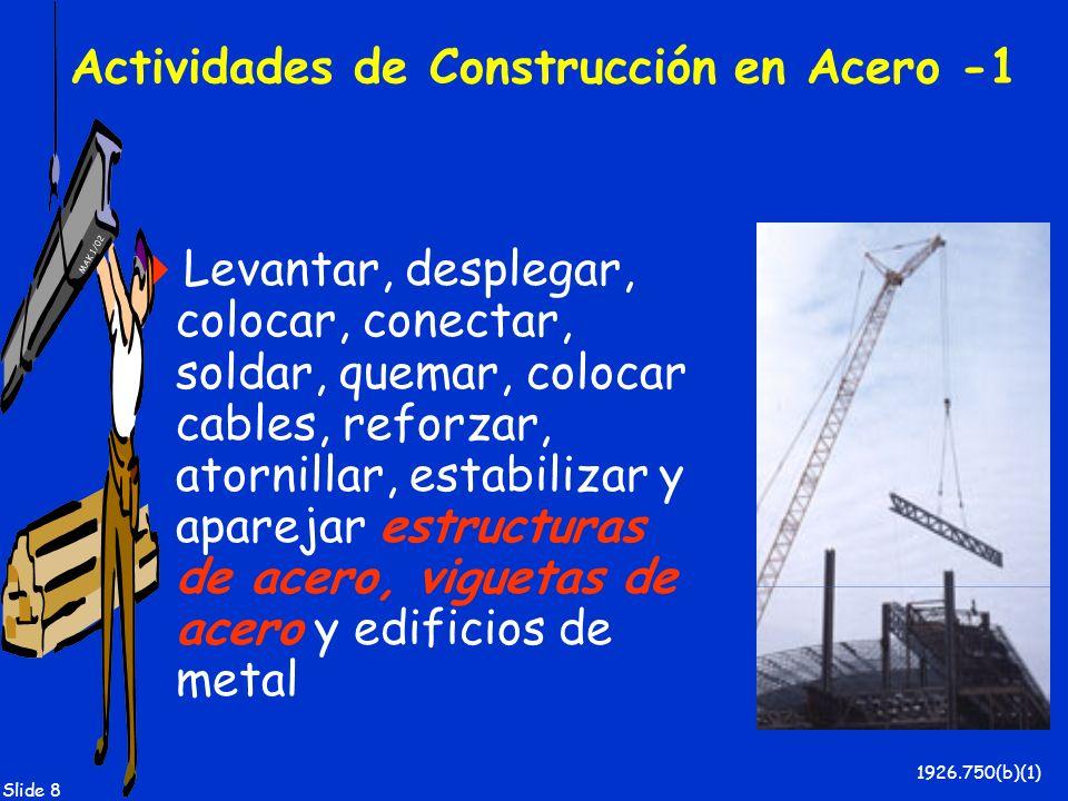 MAK 1/02 Slide 8 Actividades de Construcción en Acero -1 Levantar, desplegar, colocar, conectar, soldar, quemar, colocar cables, reforzar, atornillar,