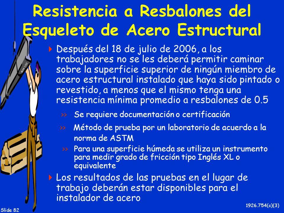MAK 1/02 Slide 82 Resistencia a Resbalones del Esqueleto de Acero Estructural Después del 18 de julio de 2006, a los trabajadores no se les deberá per