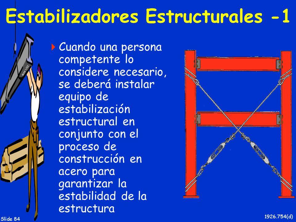 MAK 1/02 Slide 84 Estabilizadores Estructurales -1 Cuando una persona competente lo considere necesario, se deberá instalar equipo de estabilización e