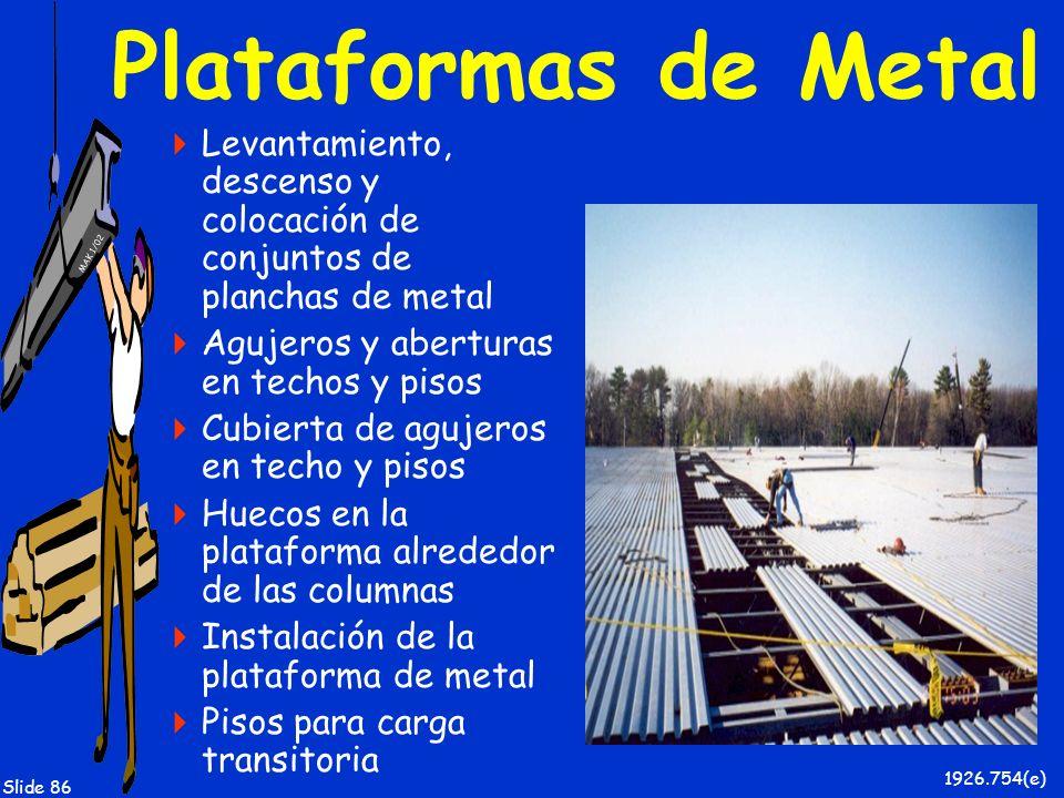 MAK 1/02 Slide 86 Plataformas de Metal Levantamiento, descenso y colocación de conjuntos de planchas de metal Agujeros y aberturas en techos y pisos C