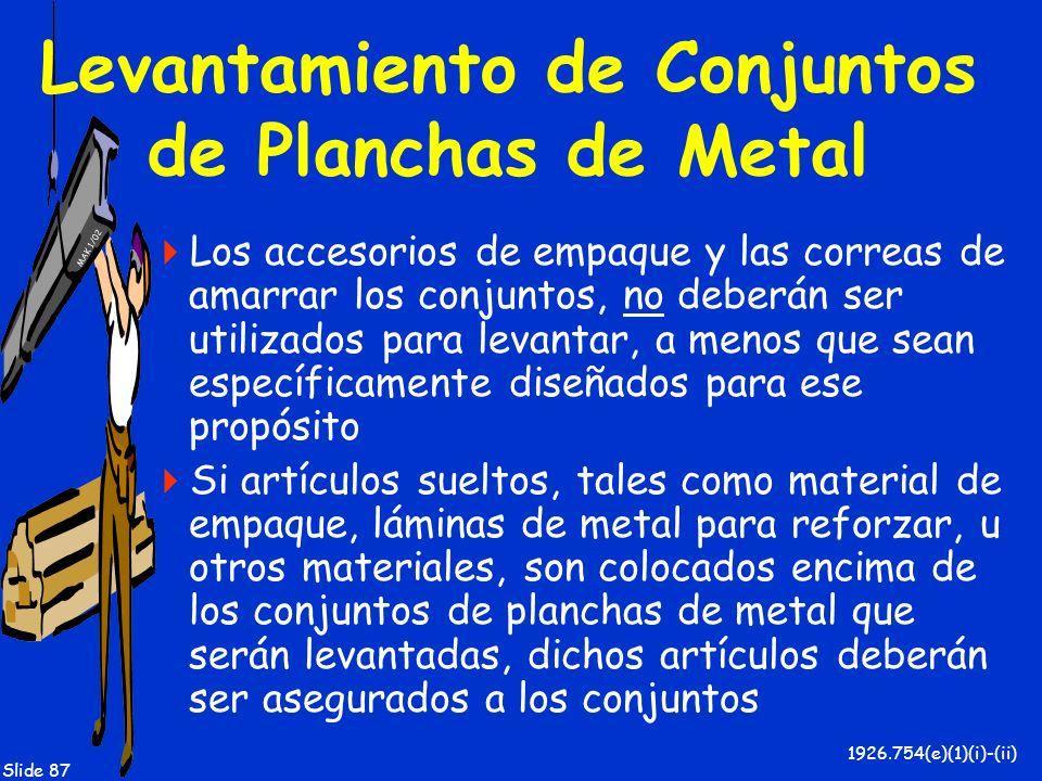MAK 1/02 Slide 87 Levantamiento de Conjuntos de Planchas de Metal Los accesorios de empaque y las correas de amarrar los conjuntos, no deberán ser uti
