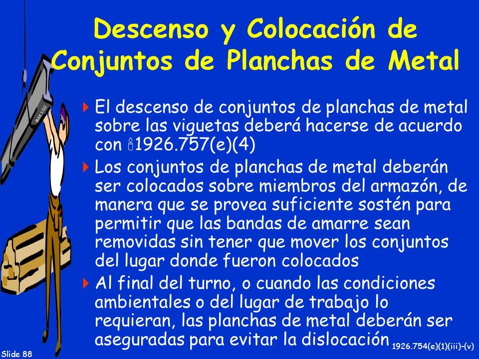 MAK 1/02 Slide 88 Descenso y Colocación de Conjuntos de Planchas de Metal El descenso de conjuntos de planchas de metal sobre las viguetas deberá hace