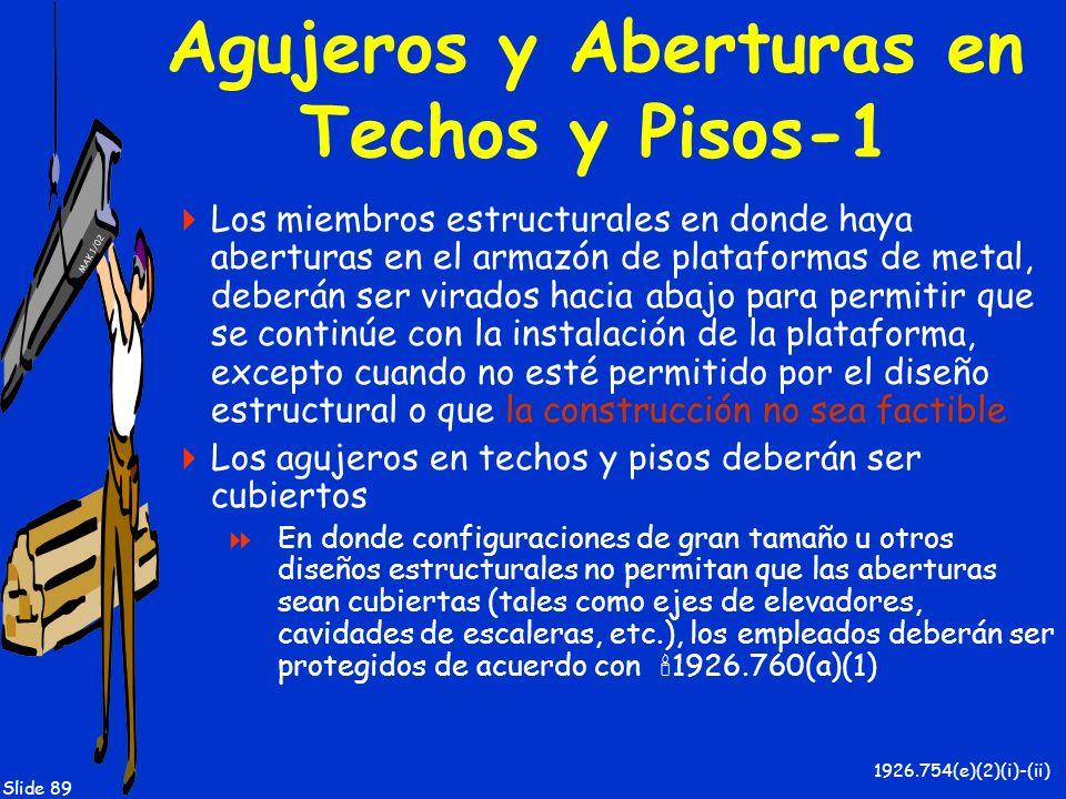 MAK 1/02 Slide 89 Agujeros y Aberturas en Techos y Pisos-1 Los miembros estructurales en donde haya aberturas en el armazón de plataformas de metal, d