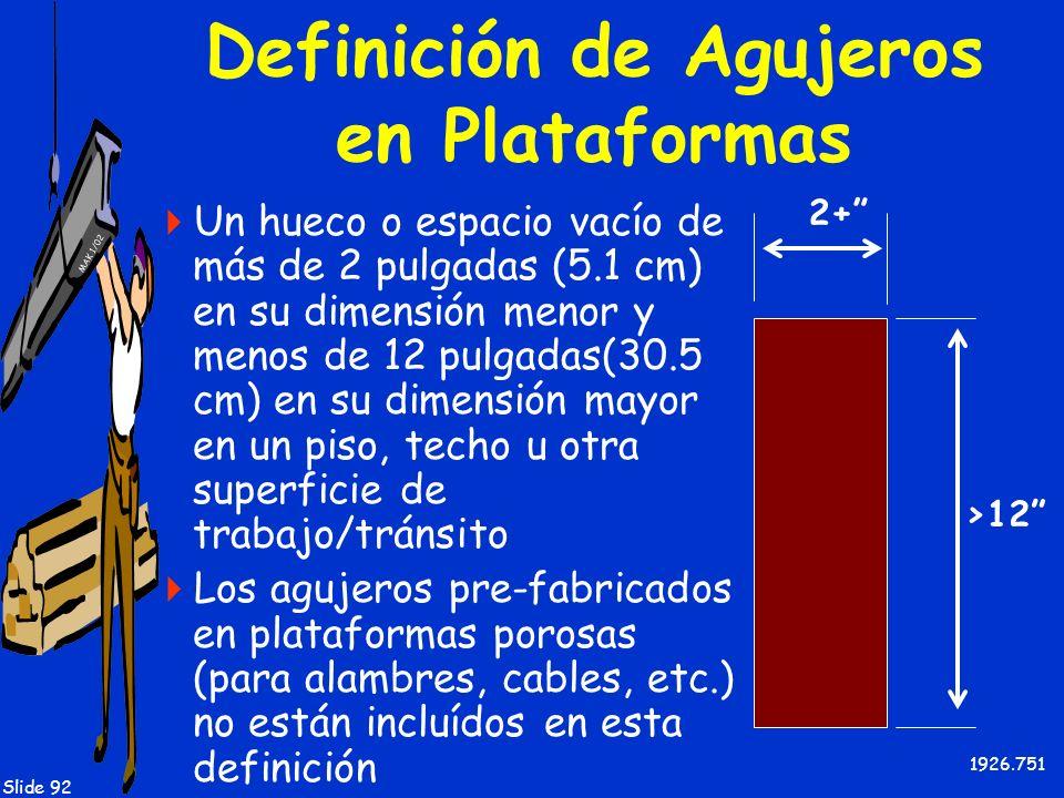 MAK 1/02 Slide 92 Definición de Agujeros en Plataformas Un hueco o espacio vacío de más de 2 pulgadas (5.1 cm) en su dimensión menor y menos de 12 pul