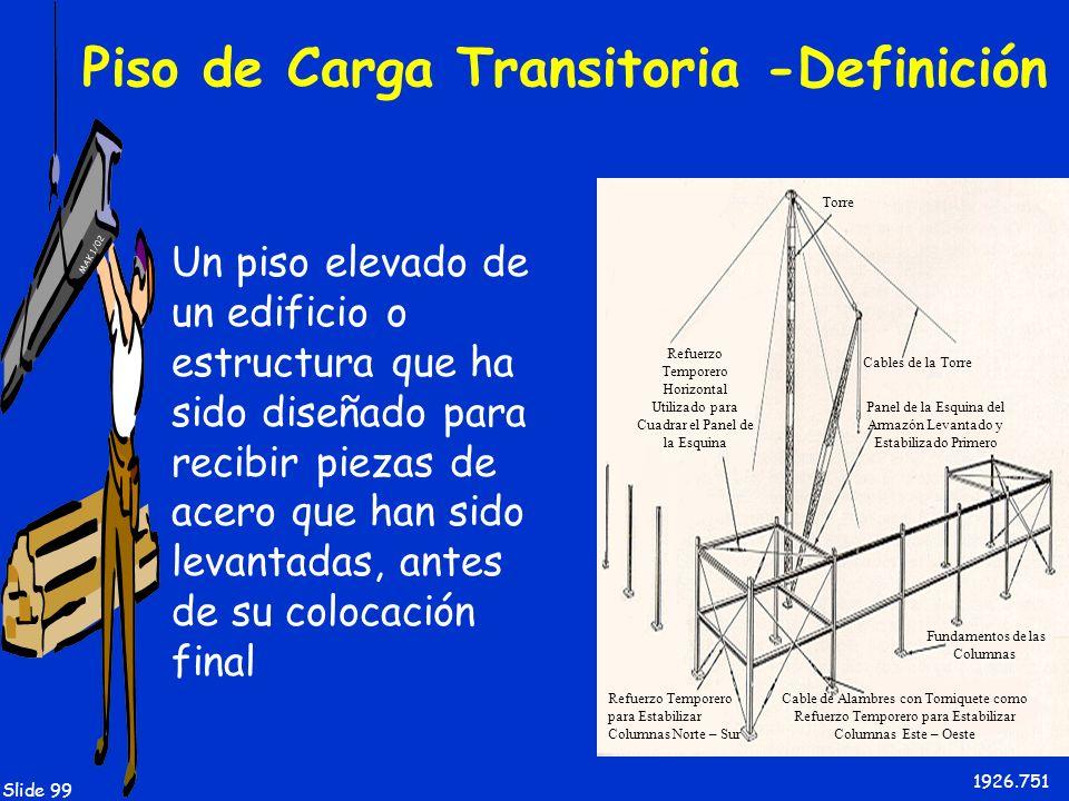 MAK 1/02 Slide 99 Piso de Carga Transitoria -Definición Un piso elevado de un edificio o estructura que ha sido diseñado para recibir piezas de acero