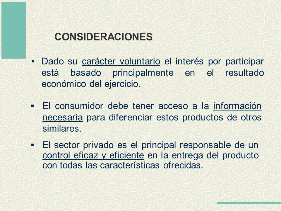 CONSIDERACIONES Dado su carácter voluntario el interés por participar está basado principalmente en el resultado económico del ejercicio. El sector pr