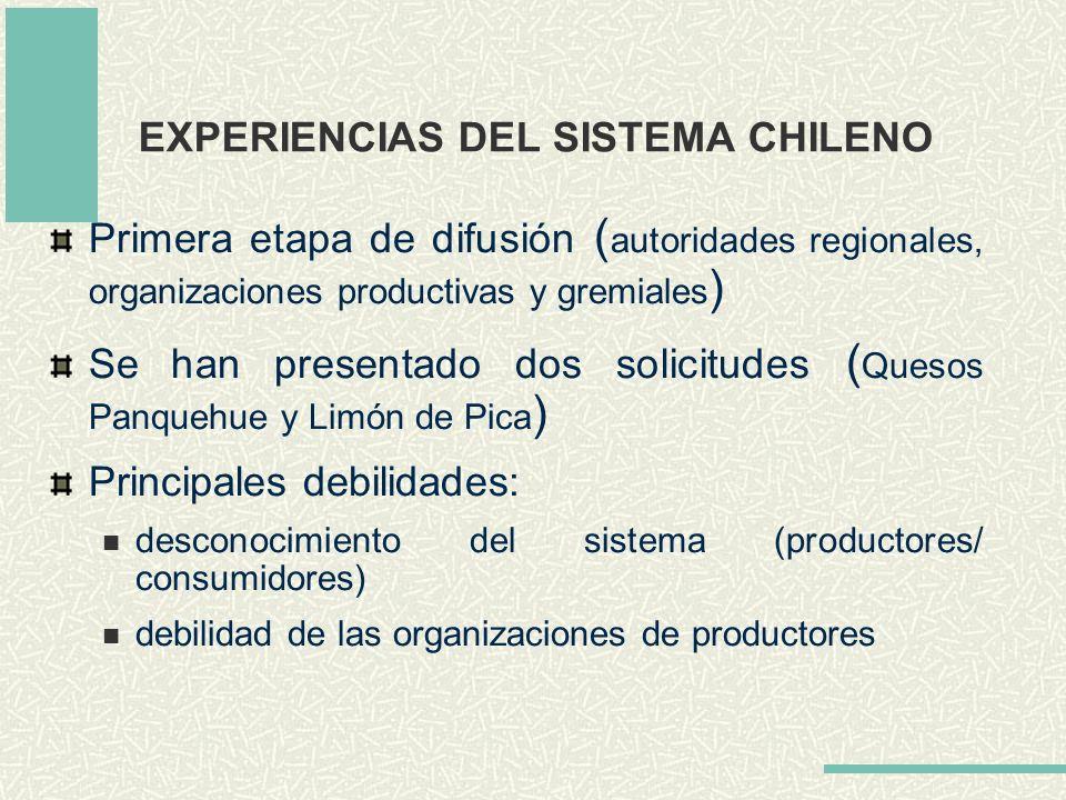 EXPERIENCIAS DEL SISTEMA CHILENO Primera etapa de difusión ( autoridades regionales, organizaciones productivas y gremiales ) Se han presentado dos so