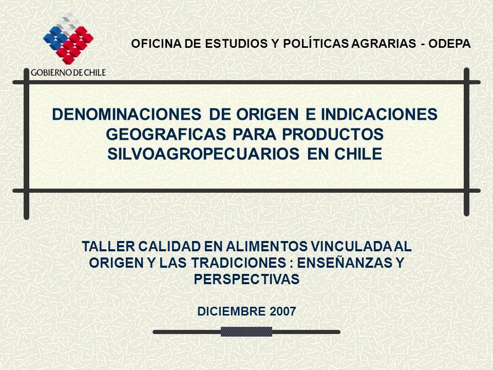 DENOMINACIONES DE ORIGEN E INDICACIONES GEOGRAFICAS PARA PRODUCTOS SILVOAGROPECUARIOS EN CHILE OFICINA DE ESTUDIOS Y POLÍTICAS AGRARIAS - ODEPA TALLER