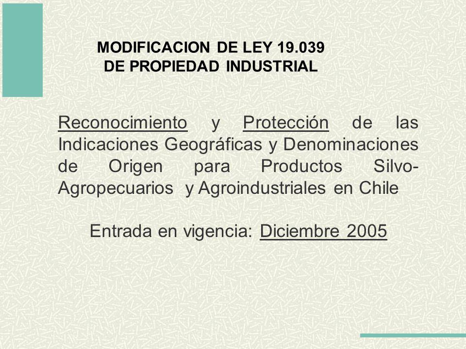 MODIFICACION DE LEY 19.039 DE PROPIEDAD INDUSTRIAL Reconocimiento y Protección de las Indicaciones Geográficas y Denominaciones de Origen para Product